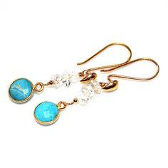 Turquoise Earrings Herkimer Diamond Quartz Earrings Herkimer Earrings Diamond Earrings Summer Earrings Summer Style Turquoise Jewelry by FizzCandy on Etsy