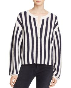 T by Alexander Wang Striped Waffle Knit Henley Pullover