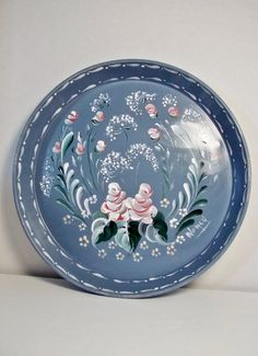 Round Metal Serving Tray Rosemaled Hand Painted by FolkArtByNancy