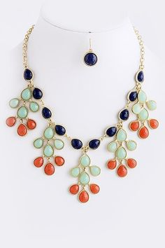 Multi Color Block Tree Teardrop Bib Necklace - Anthropologie Inspired Statement Necklace - Navy, Mint, Orange