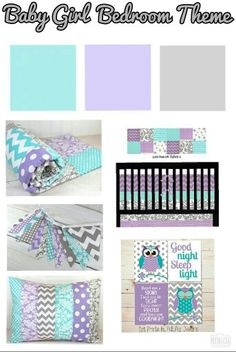 Baby Girl Nursery/Bedroom Color Theme (Gray, Purple & Aqua) with Owls
