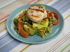 Get Summer Salad with Scallion Pesto and Scallops Recipe from Food Network