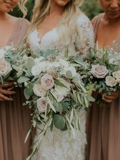 Ivory, muted blush and sage green bouquets with dusty rose bridesmaids dresses. Blush Wedding Flowers, Dusty Rose Wedding, Floral Wedding, Wedding Bouquets, Wedding Dresses, Elegant Wedding, Rustic Wedding, Wedding Attire, Trendy Wedding