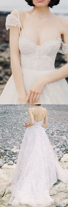 Ivory Lace Wedding dresses, Long Wedding Dresses, Bridal Wedding Dresses, Long Train Wedding Dresses, Ivory Wedding Dresses, Wedding dresses Train, Lace Wedding dresses, Long Lace dresses, Ivory Lace dresses, Wedding Dresses Lace, Lace Wedding Dresses Spaghetti Straps Sweep/Brush Train Ivory Bridal Gown