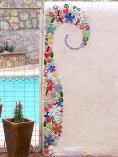 mosaico en pareta hecho con fimo ....creo