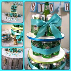 I put together my first beer cake (Heineken) for my hubby's birthday!