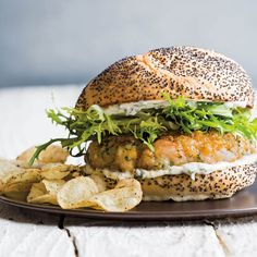Shrimp Burgers with Herbed Aioli and Frisée Salad