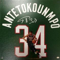 Giannis Antetokounmpo Milwaukee Bucks 20x20 Autographed Uniframe Canvas