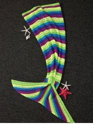 Soft Stripe Pattern Hollow Out Knitting Mermaid Shape Blanket in Colormix | Sammydress.com Mobile
