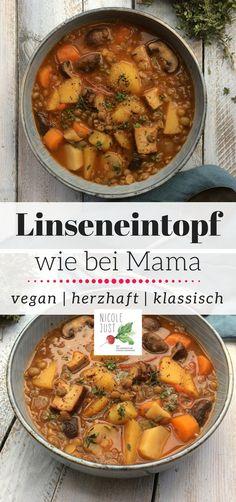 Veganer Linseneintopf war eines der ersten Rezepte, die ich gekocht habe nachdem ich 2009 von heute auf morgen Veganista geworden bin. Ich liebe Eintöpfe, One Pots und Suppen schon immer und eben ganz besonders Linseneintopf wie bei Mutti. :) Die hat für ihr Rezept Speck verwendet. In der veganen Küche verwende ich als Speck-Alternative Räuchertofu.