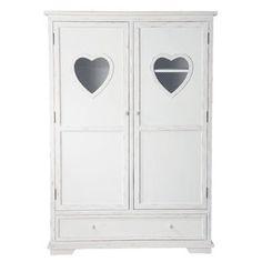 Armadio bianco in legno per bambini L 130 cm - Valentine