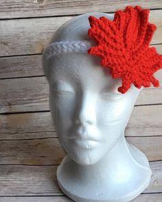 Crochet Canada Day Headband, Headband For Canada Day, Canada Day Celebration, Canadian Pride, Maple Leaf Headband - MADE TO ORDER by ThisDarndYarn on Etsy Love Crochet, Knit Crochet, Crochet Hats, Canada Day, Crocheting, Celebration, Pride, Projects To Try, Hoodies