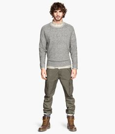Change this look a bit; tight grey top with green cargo pants and brown boot