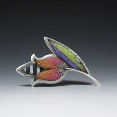 Drawing on Metal | Bead&Button Show   Deb Karash, colored pencil over silver pendant.