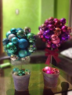 My Diy Christmas Ornament Topiary  Here's directions on a similar craft-http://www.bhg.com/christmas/crafts/glass-ornament-topiary/