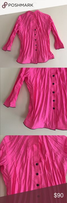 Beluva San Fransisco button up jacket/top Very pretty pink crinkle button up that can be worn as a light jacket. Black lining and buttons, rarely worn. Very cute on! beluva san fransisco Tops