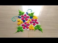 Easy,simple and small rangoli designs with color by jyoti Rathod Small Rangoli Design, Colorful Rangoli Designs, Rangoli Designs Diwali, Diwali Rangoli, Beautiful Rangoli Designs, Simple Rangoli, Diy Embroidery Patterns, Rangoli Patterns, Rangoli Ideas