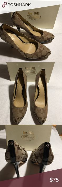 Authentic Coach Heels Coach Signature C Heels. Classic beauty, wear casual with jeans or dressy for an evening out on the town.  Only worn once, why buy new when you can pay half the price!  Includes original box. Smoke Free Home. Coach Shoes Heels