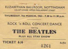 Super Rare 1963 Beatles Concert Ticket