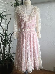 Edwardian/ Victorian look with hight neck, ruffle at chest and hem, long sleeves. Has elastic stretch waist. | eBay!