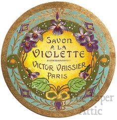 Antique Vintage French Paris Perfume Soap Label Savon a la Violette Violets