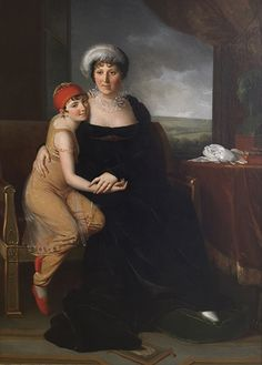 Marie-Eléonore Godefroy (Paris Portrait of Madame Campan seated full-length, in a black dress, with a pupil in oriental costume, by a table with a bust, a landscape beyond Regency Gown, Regency Era, Princess Louise, Lady In Waiting, 1800s Fashion, French Revolution, French Artists, Madame, Marie Antoinette