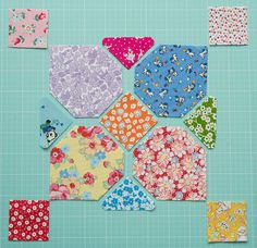 TUTORIAL Happy Flower Quilt-Along - Block 21 laid out