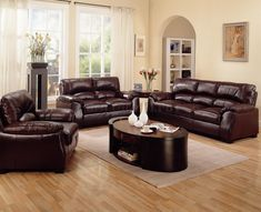 how to enhance the look of a brown leather sofa - Leather Living Room Furniture
