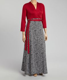 Another great find on #zulily! Burgundy & Black Abstract Surplice Maxi Dress - Plus #zulilyfinds