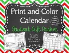Christmas gifts from students to parents can be inexpensive, fun, and easy with this packet.  Students will enjoy creating the calendars and parents, grandparents, and other recipients will appreciate and cherish the keepsake!  The packet includes: Instructions Cover Page (boy and girl option) Calendar Pages (January, 2015 - May, 2016) Top Pages for each month with Photo Spaces, Important Notes, and Birthday Reminders  All printing is in black and white, since your students will be the ones…