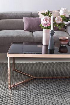 Wohnling Couchtisch WL5.245 Aus Glas Mit Kupfer Gestell. #Wohnzimmer  #Kupfer #Glas #Modern #Design #Dekoration