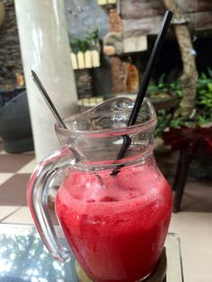 Watermelon juice on a rainy day in Vietnam!