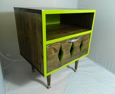 Mid Century Retro Inspired Nightstand Lime Zing by OrWaDesigns, $250.00