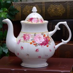 Grand Floral and Strawberry Bone China Teapot