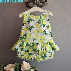 US $10.37 Bear Leader Girls Clothing Sets 2016 Brand Summer Style Kids Clothing Sets Lemon Print Design bow T-shirt+Pants 2Pcs Clothes aliexpress.com