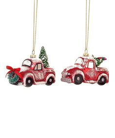 This Red Vintage Truck & Christmas Tree Glass Ornament - Set of Six is perfect! #zulilyfinds