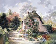 """""""Bower Cottage"""" by Thomas Kinkade Thomas Kinkade, Image Fruit, Kinkade Paintings, Bell Art, Art Thomas, Image Nature, Images Vintage, Cute Cottage, Oil Painting Reproductions"""