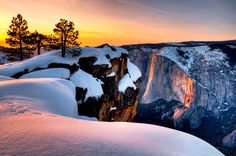 Horsetail Fall at sunset seen from Taft Point, Yosemite National Park, California (© Josh Miller Photography/Aurora Photos) – Yosemite National Park, National Parks, Horsetail Falls, Travel Channel, To Infinity And Beyond, Beautiful Landscapes, The Great Outdoors, Places To Go, Beautiful Places