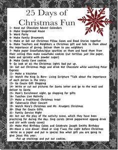 25 days of Christmas activities - definitely faith-centric (LDS), but adaptable for every family, church-related or not.  Great website in general too (The Things I Love), full of ideas to make your life more fun and full.