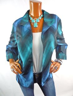 CHICO'S Sz 3 Top L XL NWT Blue Green Blurred Chevron Spring Jacket Blazer Light #Chicos #Blouse #Casual