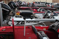 Oklahoma Bass Federation bass boats lined up before the first Qualifier of the season.