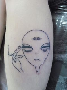 Alien smoking a joint, tattoo, outline tattoo