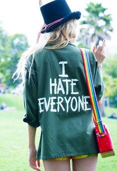 """Jac Vanek - """"I Hate Everyone"""" Vintage Army Jacket"""