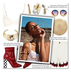 """How to Style  White Embellished Denim Shorts with a White Lace Bra Top, Red Summer Booties, a Straw Bag and Gold Choker for Travel to Las Vegas this Summer"" by outfitsfortravel ❤ liked on Polyvore featuring La Perla, Chloé, Dolce&Gabbana, Shanghai Tang, Gucci, La Prairie, Global Views, Tiffany & Co. and Too Faced Cosmetics"