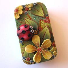 Ladybug Slide Top Tin Sewing Needle Case