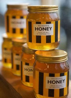 Honey from the bees of Notting Hill Honey Jar Labels, Honey Label, Hives And Honey, Milk And Honey, Honey Bottles, Honey Logo, Tupelo Honey, Honey Packaging, Honey Shop