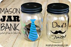 Mason Jar Father's Day Bank - Father's Day Gift Ideas - Mason Jar Crafts for Father's Day - Mason Jar Gifts for Father's Day - Kid's Crafts for Father's Day @Mason Jar Crafts Love blog