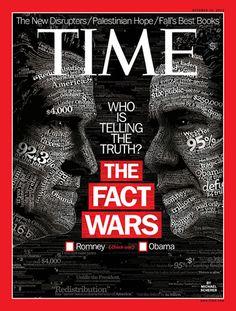 Revista Time (EEUU) - 15 de octubre de 2012. ¿Quién dice la verdad? ¿Obama o Romney? (Check one). http://swampland.time.com/2012/10/03/blue-truth-red-truth/