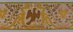 """A sixteenth- to seventeenth-century Italian silk and linen border with Strozzi emblems; the falcon on a branch and three half-moons with flames were Filippo Strozzi's favourite emblems; Sprays of roses are tied together with banderoles bearing the motto """"I wait and so does virtue"""". (Metropolitan Museum of Art)"""