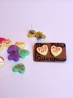 Sarcastic Candy Heart Posts/Studs by LuluThePickleQueen on Etsy
